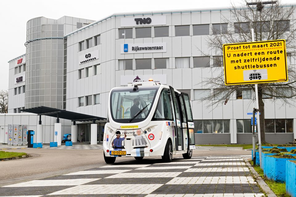 self-driving minibus at Automotive Campus